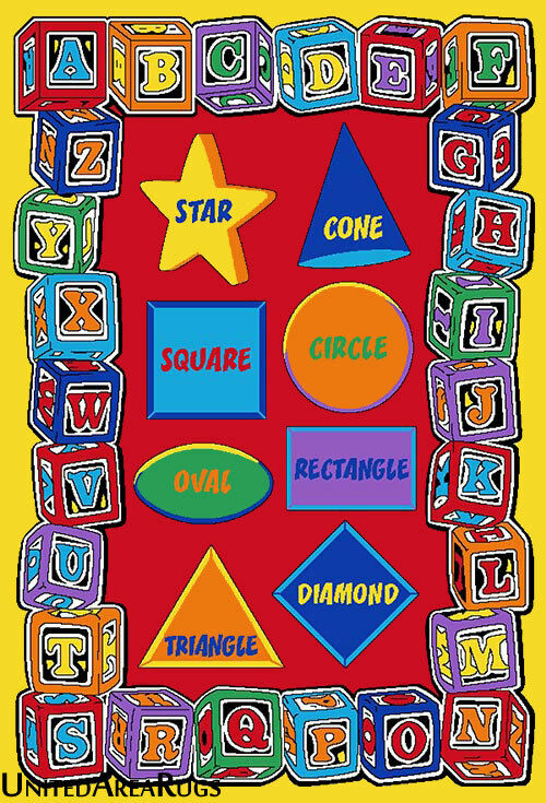 5x7 Area Rug Abc Educational Shapes Kids School Learning