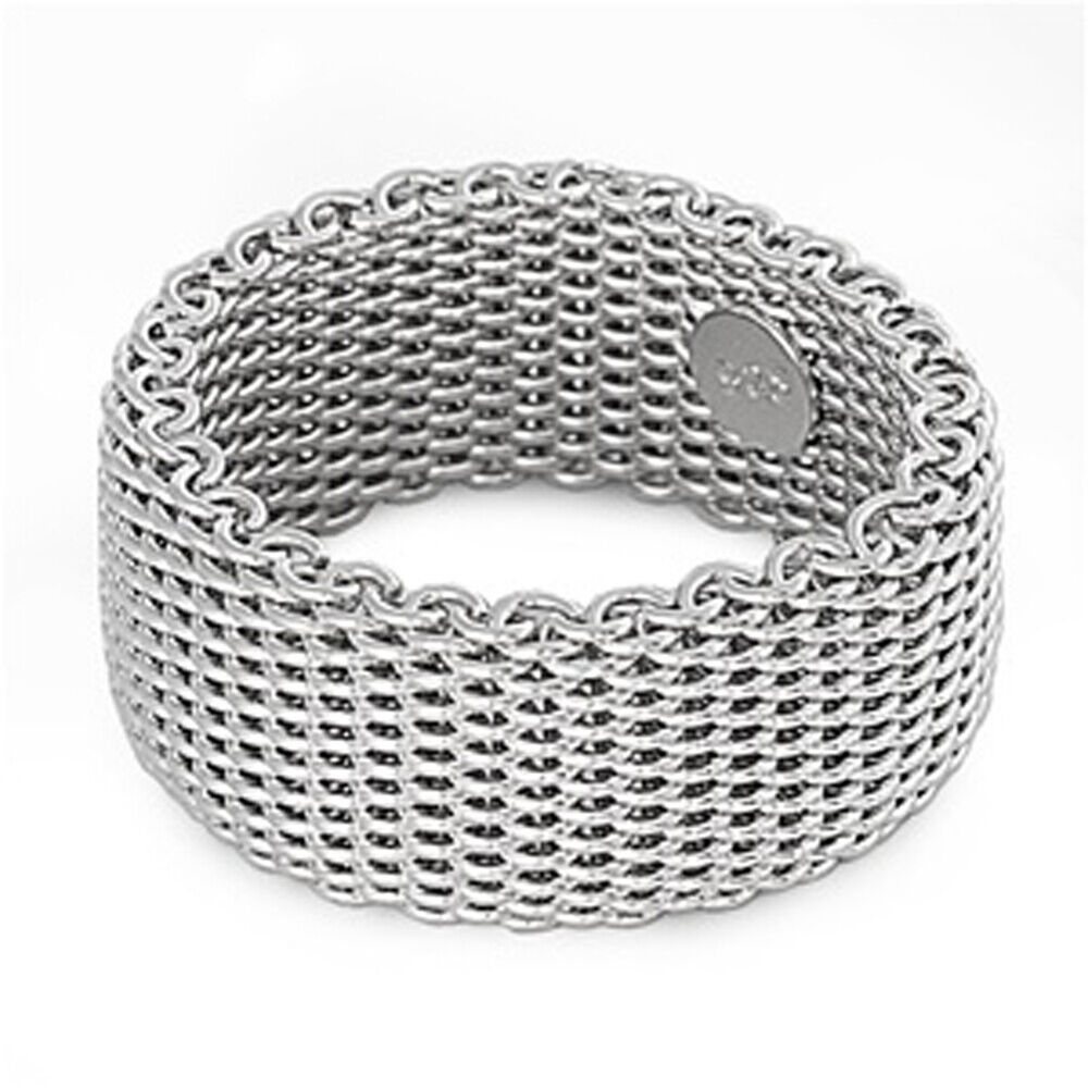 Sterling Silver Woman's Mesh Ring Wholesale Pure 925 Wide ...