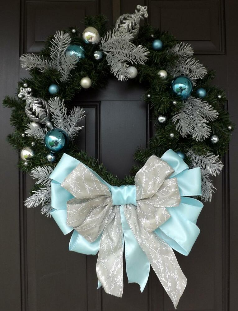 light blue bow christmas wreath handmade wreath
