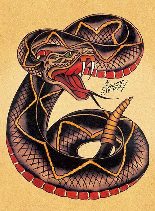 Sailor jerry poster tattoo vintage snake ebay for Sailer jerry tattoo