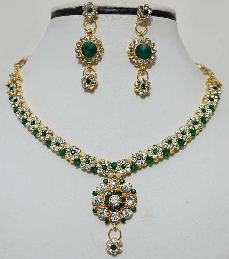 Indian Gold Plated Stones Kundan Necklace Earrings Party ...