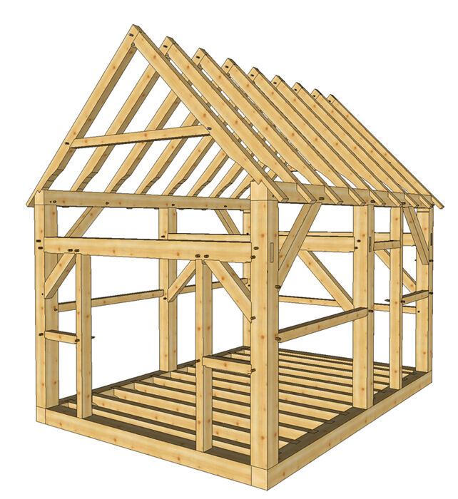 Timber Frame Shed Plans Size 12 X 16 With Two Doors