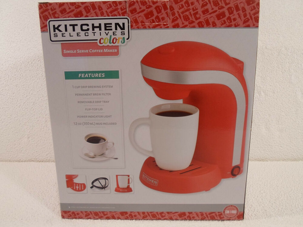 Kitchen Selectives 1 - Cup Mug Single Serve Drip Coffee Maker Pot Red 655772006691 eBay