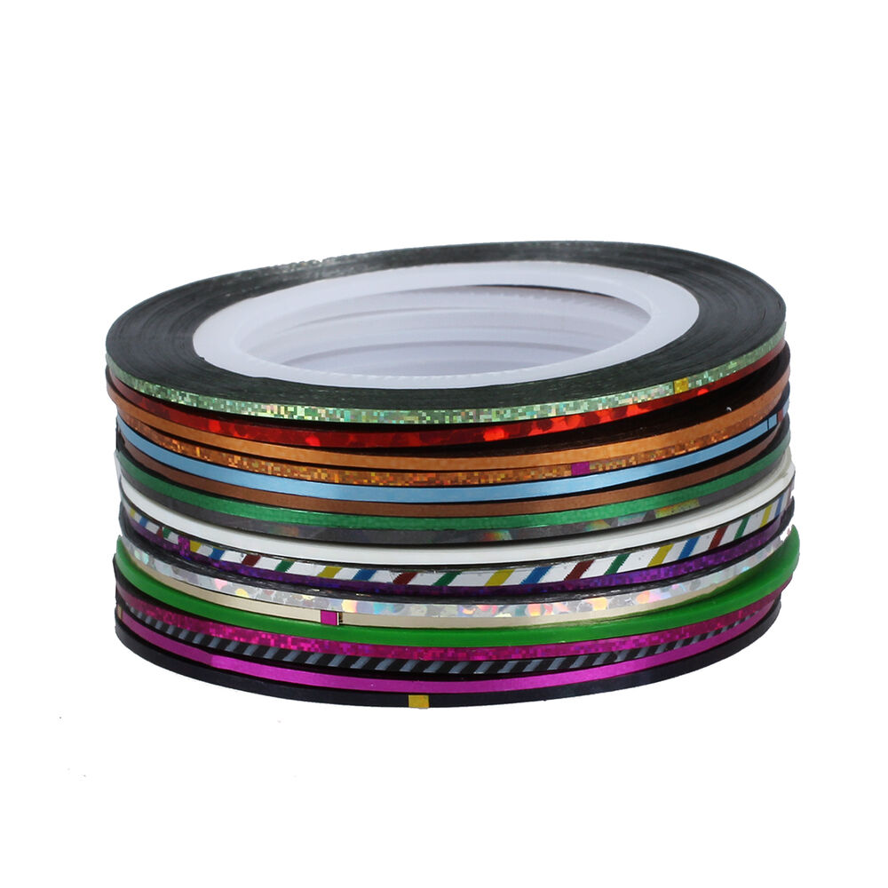 30pcs mixed colors rolls striping tape line nail art tips for Decoration tape