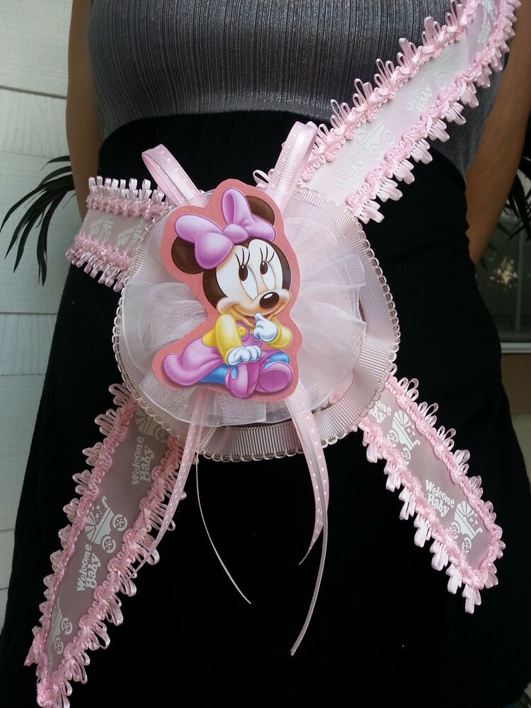 baby shower minnie mouse mom to be it 39 s a girl sash pink ribbon and corsage ebay. Black Bedroom Furniture Sets. Home Design Ideas