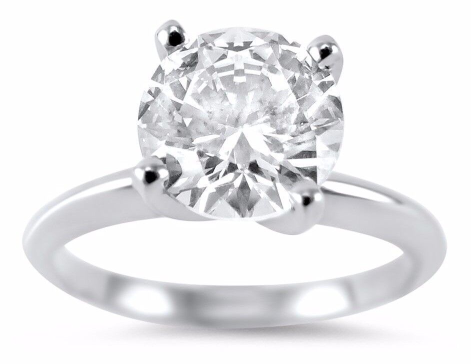 cz cubic zirconia solitaire ring 4 prong 1 5 carat 14k