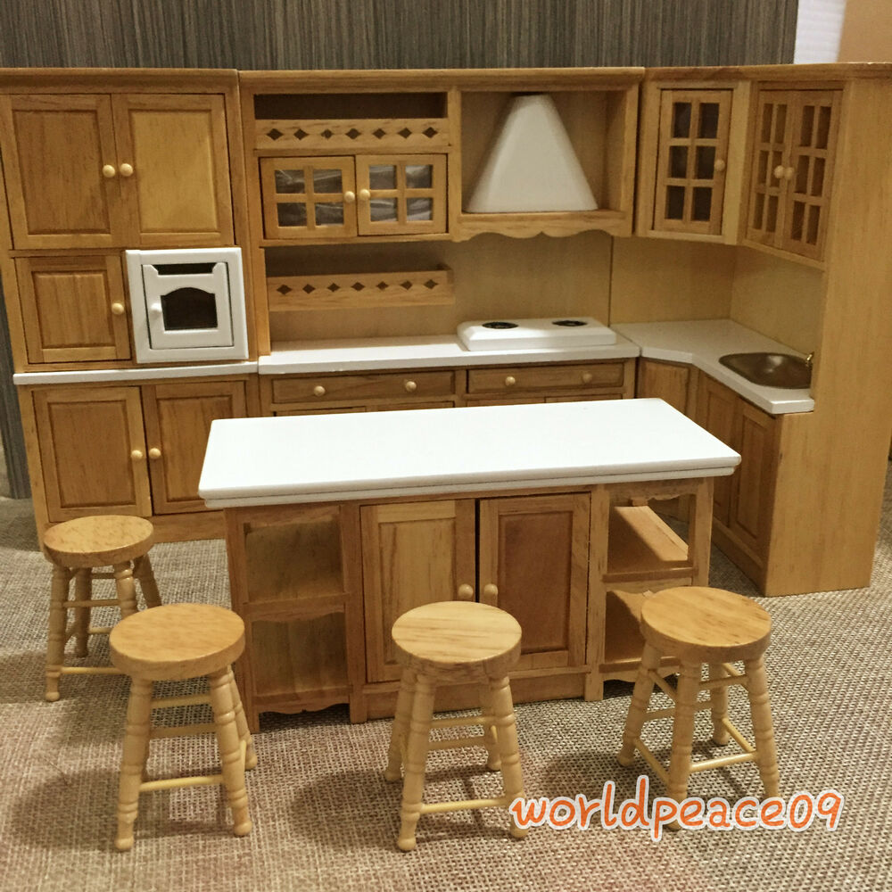 Dollhouse Miniature Burlywood Integrated Kitchen Furniture