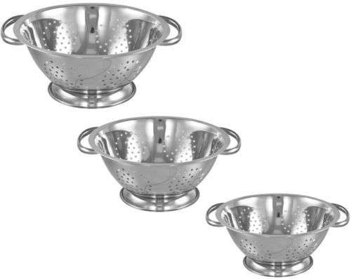 Stainless steel colander with handle deep spaghetti