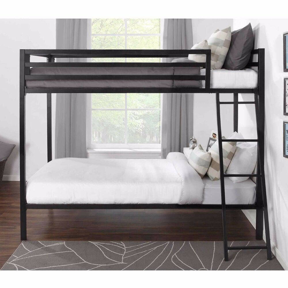 Twin over twin metal bunk beds kids teens boys girls dorm for Images of beds for bedroom