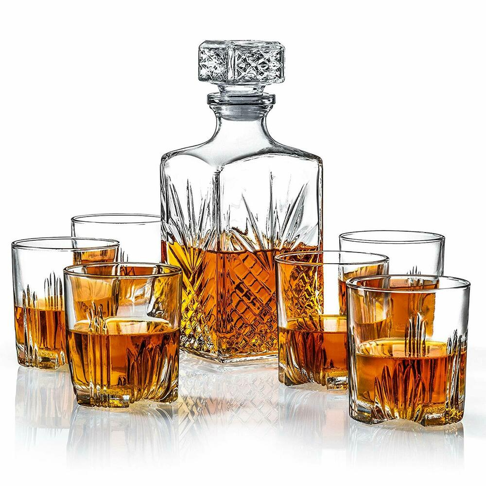 whiskey glass decanter set 7pc bar scotch rock glasses. Black Bedroom Furniture Sets. Home Design Ideas