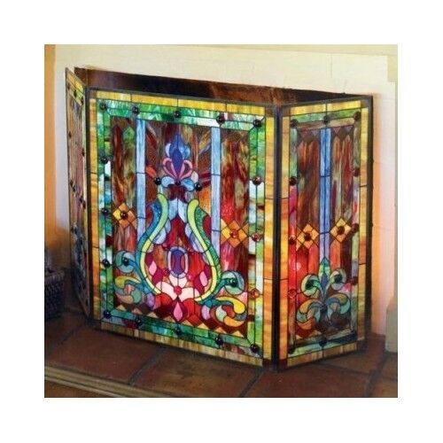 Fireplace Screen Stained Glass Folding 3-Panel Door Tools ...