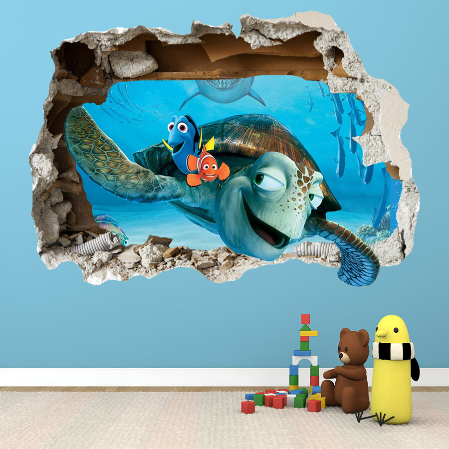 Finding Nemo Wall Sticker 3d Smashed Bedroom Boys Girls Wall Art Decal Ebay