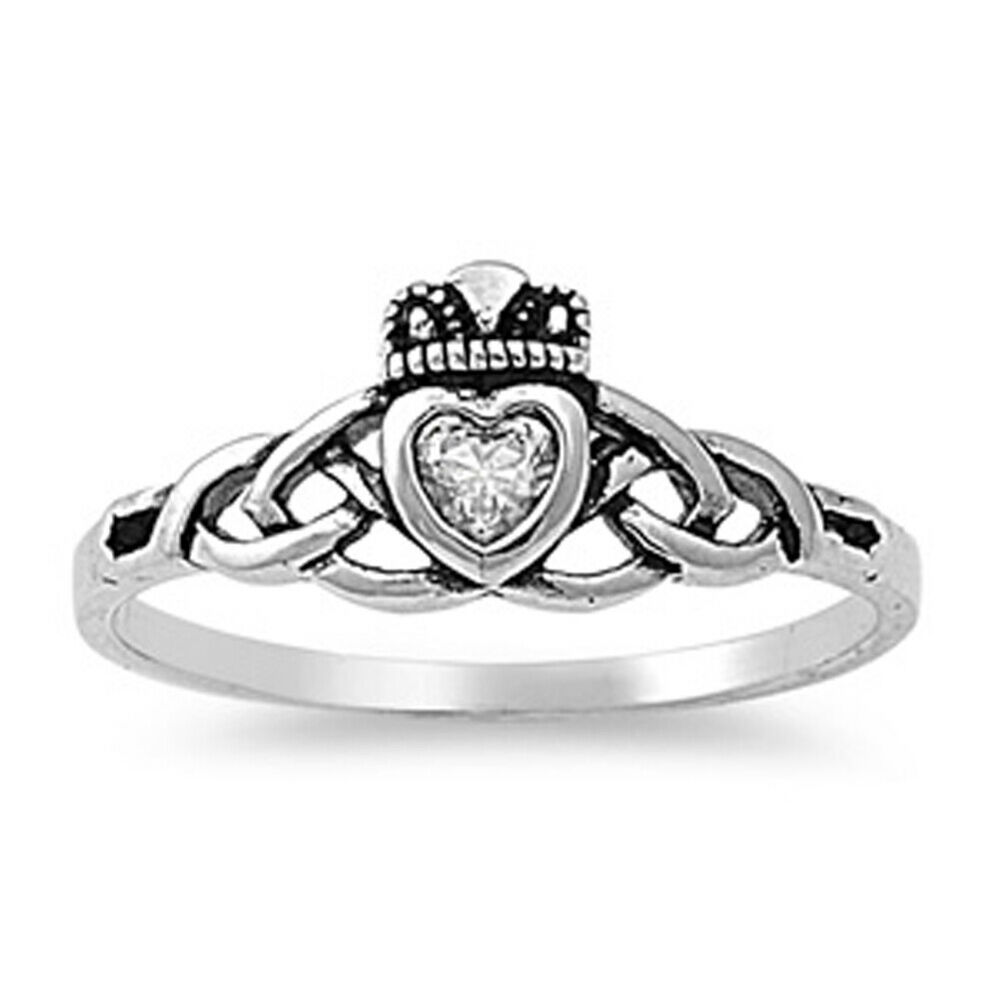 sterling silver heart cz claddagh ring traditional irish. Black Bedroom Furniture Sets. Home Design Ideas