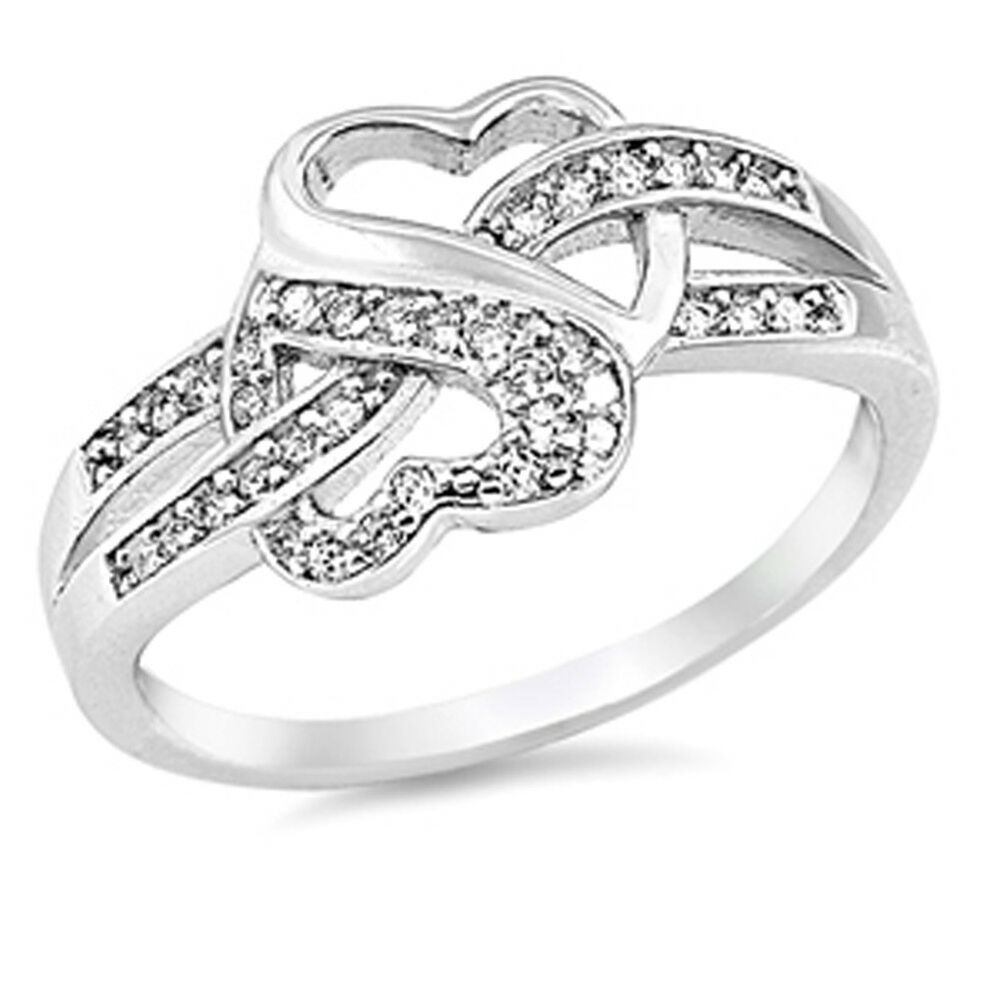 infinity knot white cz promise ring 925