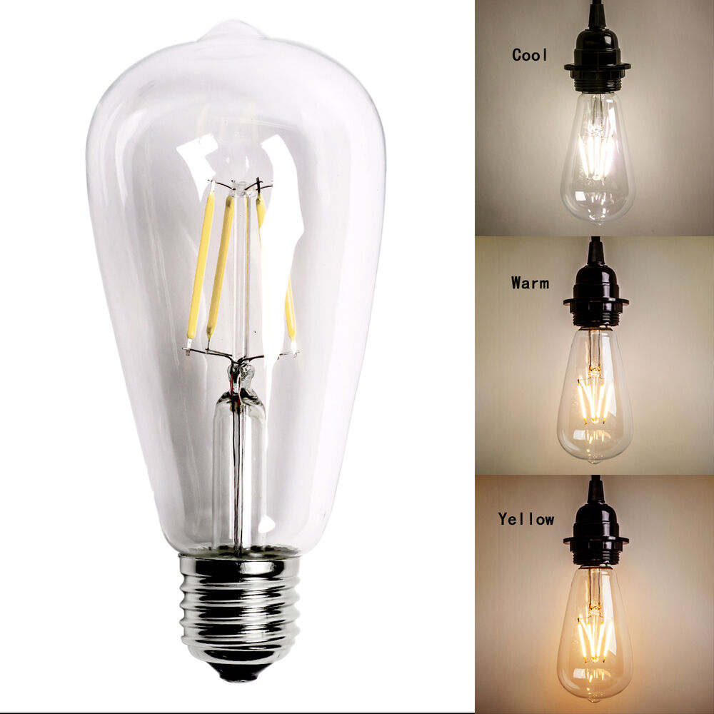 Lighting Bulb: HOMESTIA 4W ST64 LED Bulb E27 Vintage Edison COB Filament