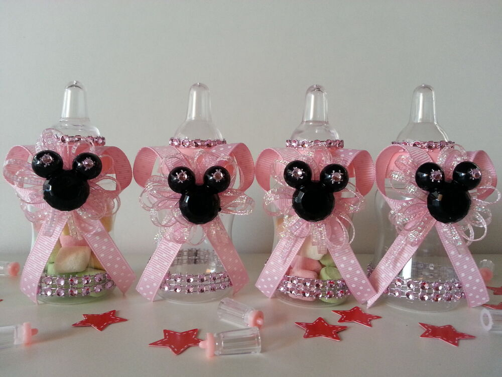 12 Minnie Mouse Pink Fillable Bottles Baby Shower Favors