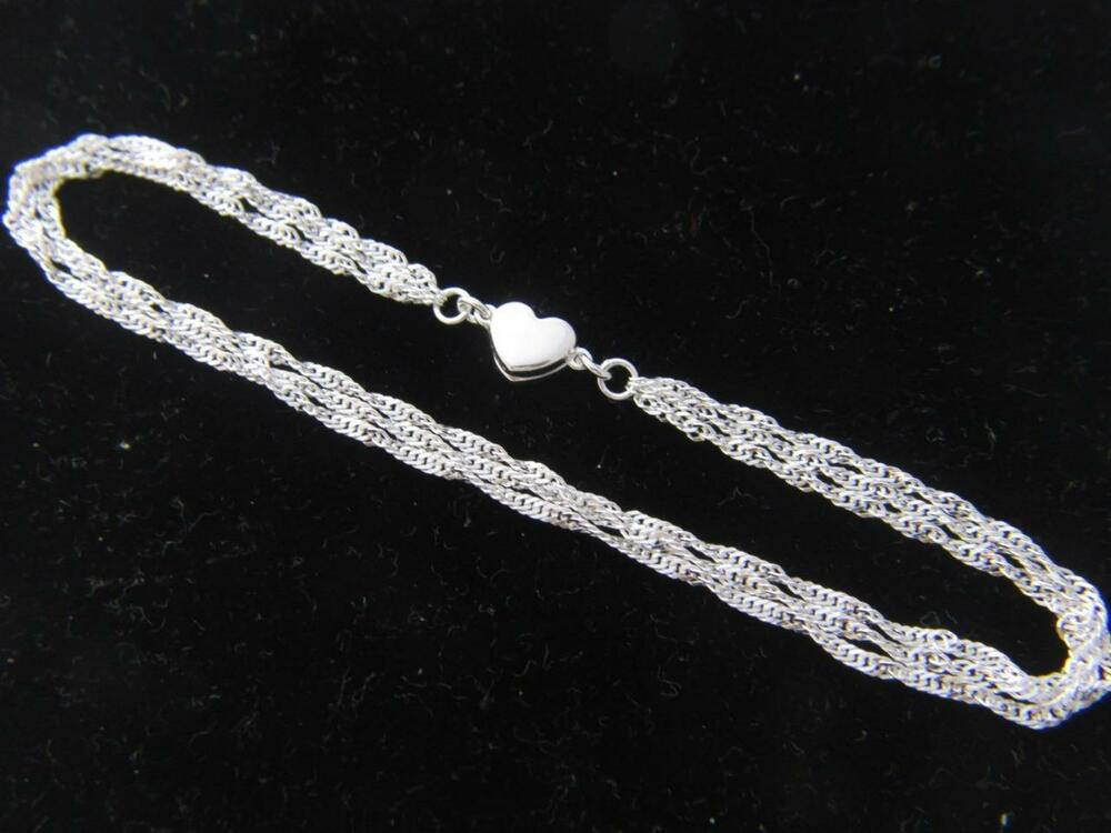 Real 925 Sterling Silver Rope Chain Necklace Bracelet With
