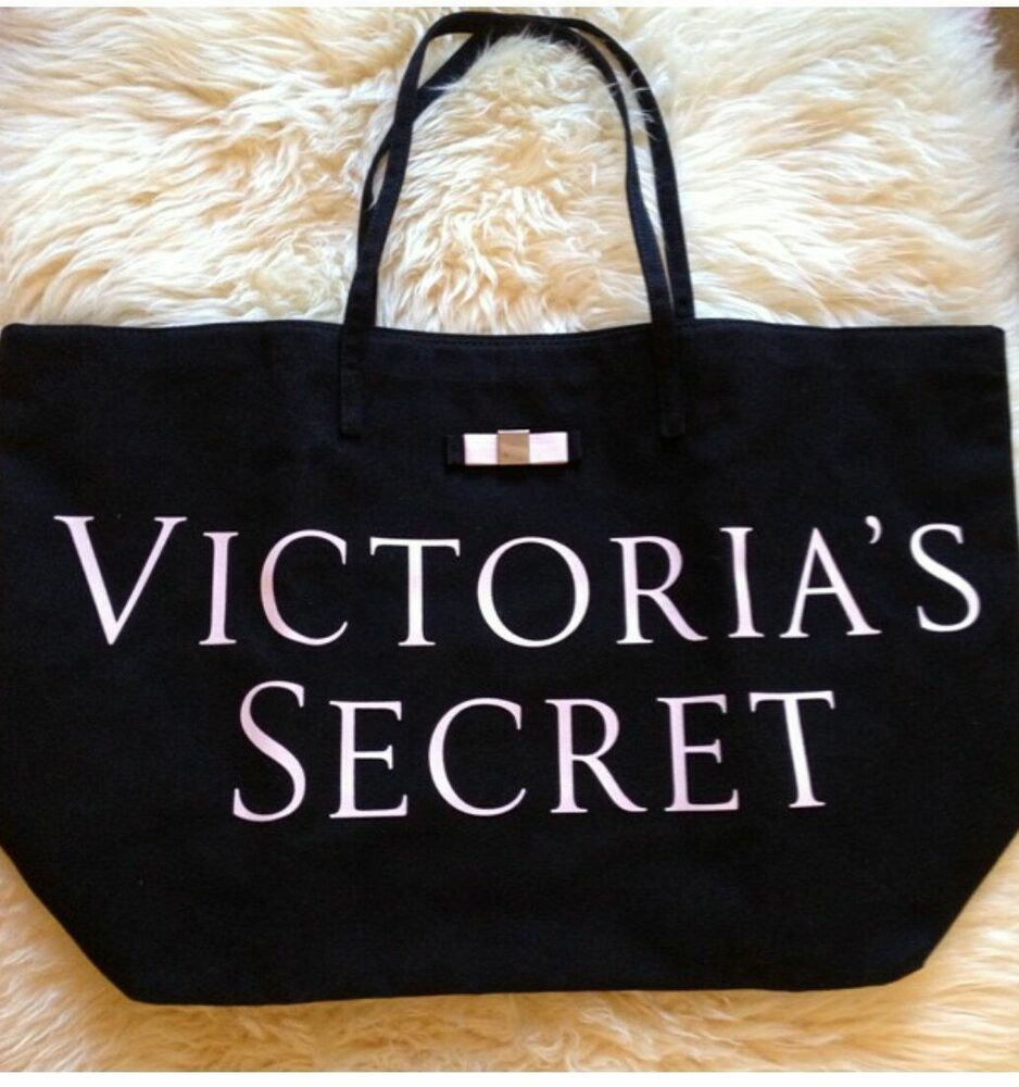 victoria u0026 39 s secret canvas tote bag black