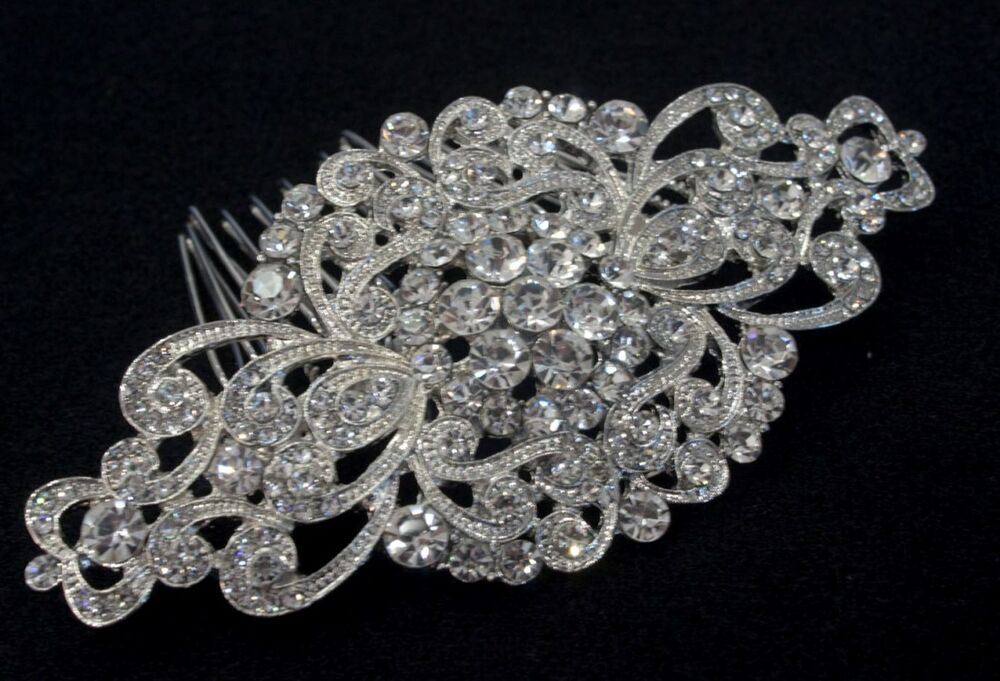 Vintage hair comb bridal wedding crystal rhinestone hair for Where to buy wedding accessories