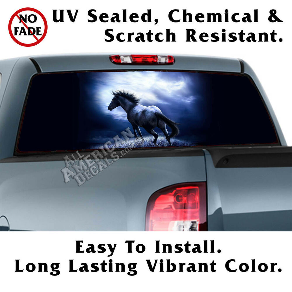 Midnight Run Horse Back Window Graphic Perforated Film