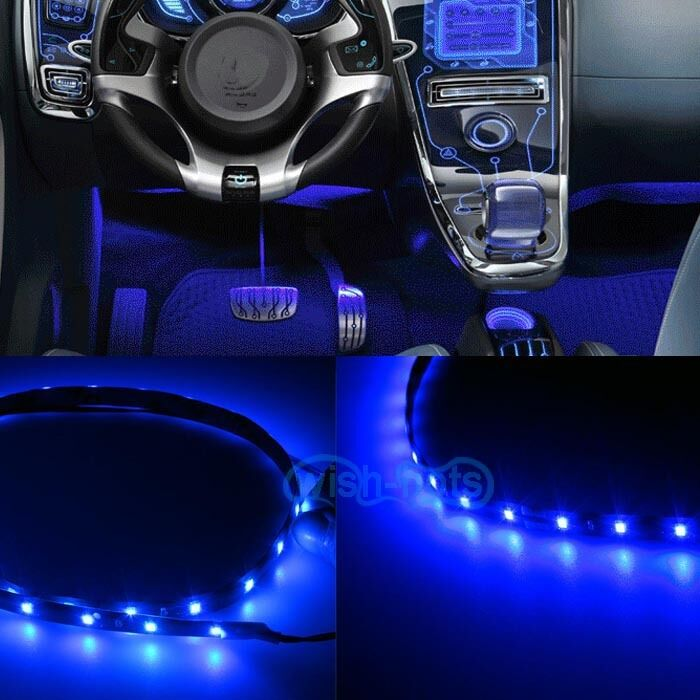 2pcs led blue 12 interior strip footwell lights under dash bulb smd exterior w ebay. Black Bedroom Furniture Sets. Home Design Ideas