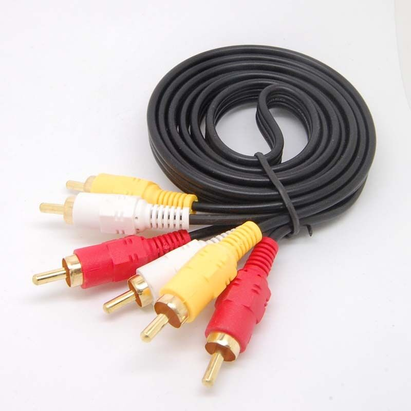 Gold Av Cable 3rca 3 Rca Male Audio Video Cord Composite