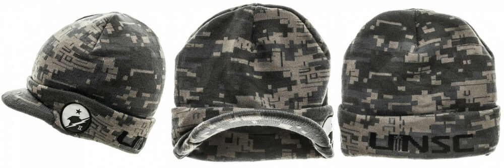 4adfc5cd92b Details about New HALO 5 UNSC DIGITAL CAMO CUFF VISOR BILLED BEANIE KNIT  HAT CAP CAMOUFLAGE
