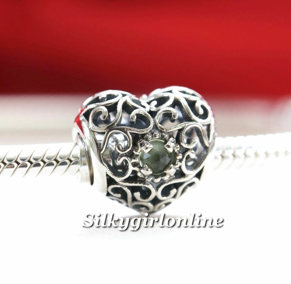 Authentic Pandora Silver August Signature Heart Peridot