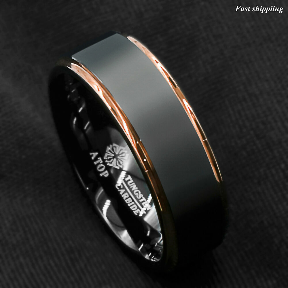 Tungsten carbide ring rose gold black brushed wedding band for Mens wedding ring bands
