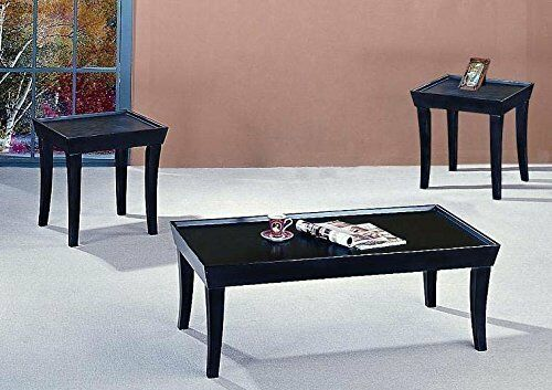 The room style 3 pieces black coffee table and end table living room set ebay for Black end tables for living room