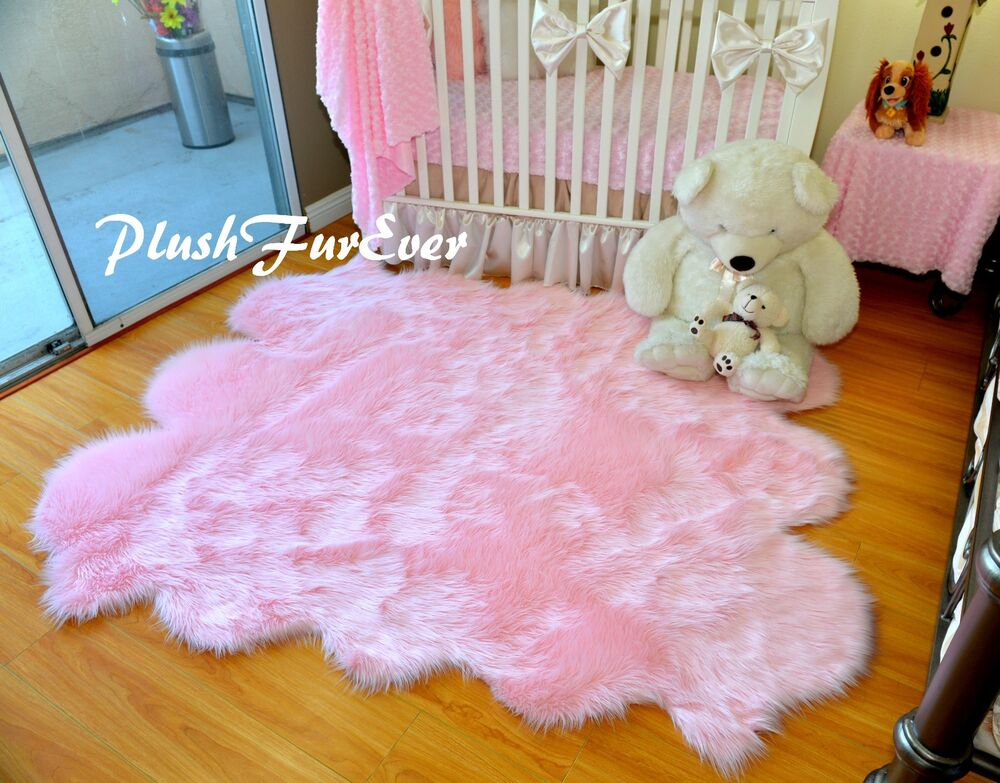 5 X 6 Baby Pink Shag Sheepskin Area Rug Nursery Home