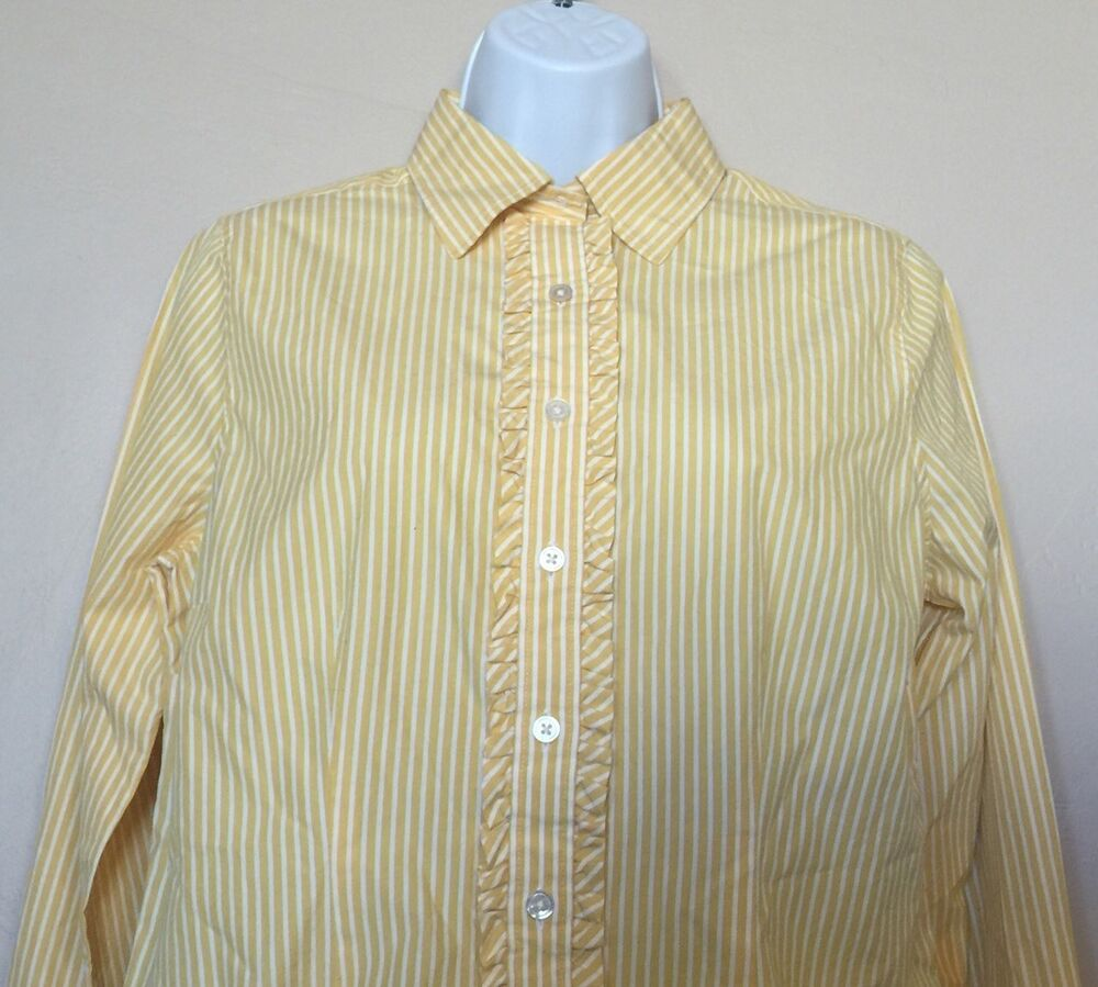 Lands End Womens Button Down Shirt Blouse With Ruffle