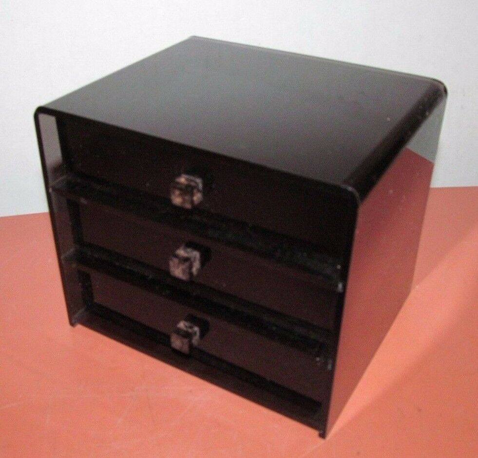 Vtg 70 S Black Lucite Small Part Jewelry Vanity Box