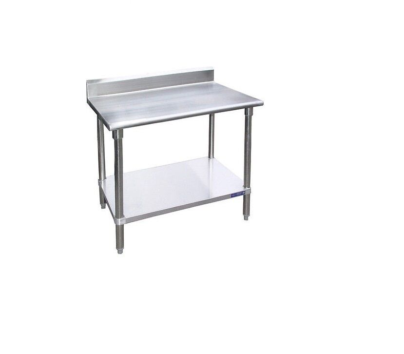 stainless steel work prep table with 5 backsplash 30 x