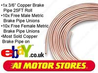"3/16"" COPPER BRAKE PIPE WITH 20 FREE METRIC UNIONS"