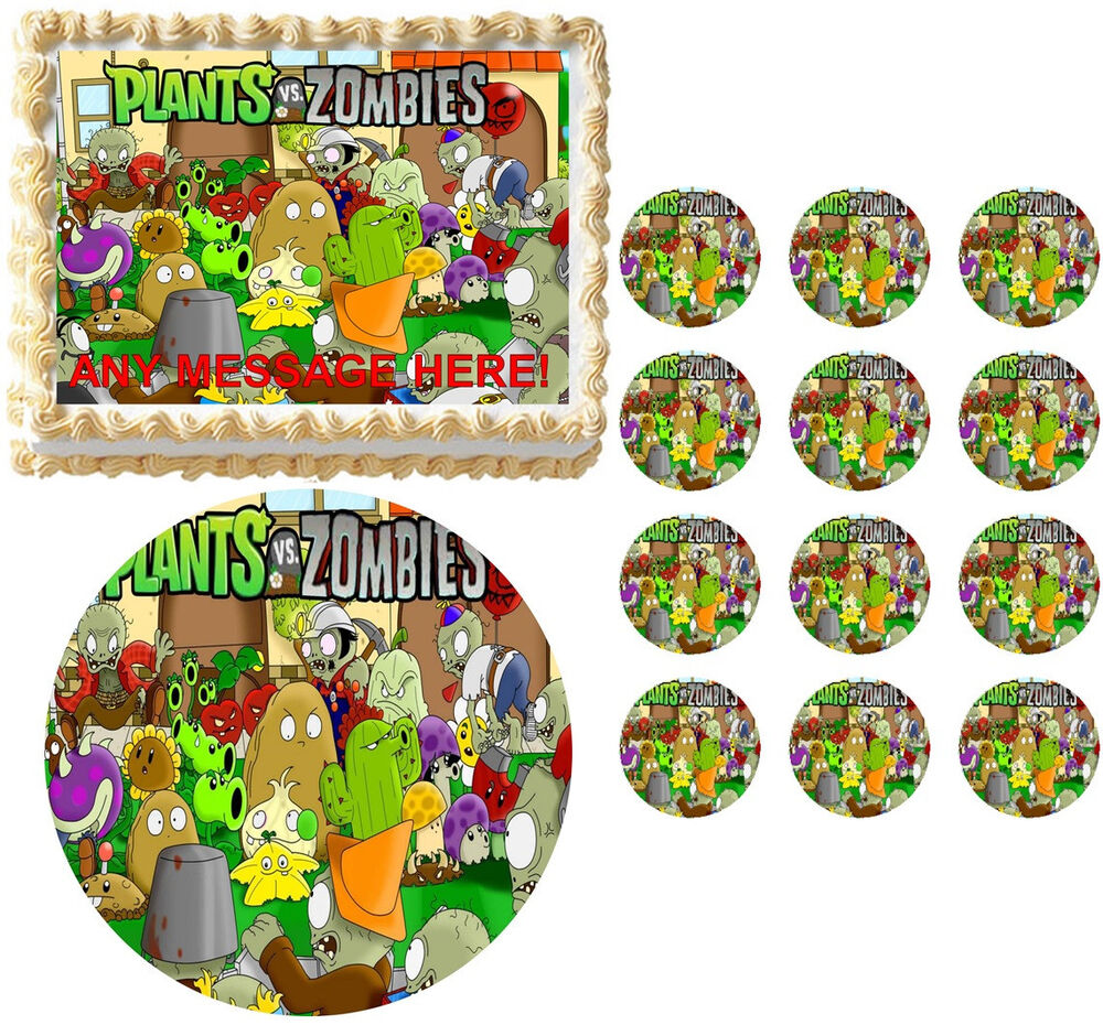 Plants Vs. Zombies Party Zombies Edible Cake Topper