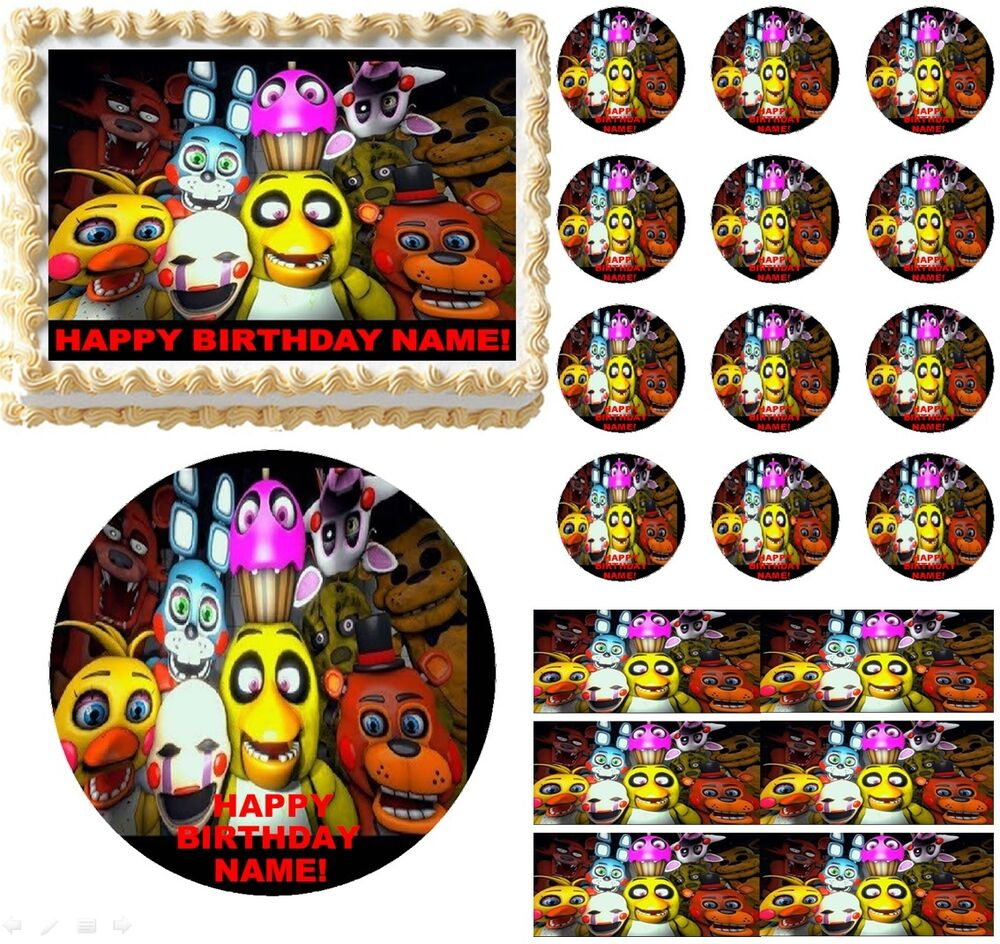 Five Nights At Freddy S Up Close Edible Cake Topper Image