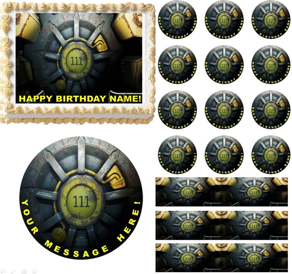 Fallout 4 vault gaming edible cake topper image frosting for Decoration 4 cake