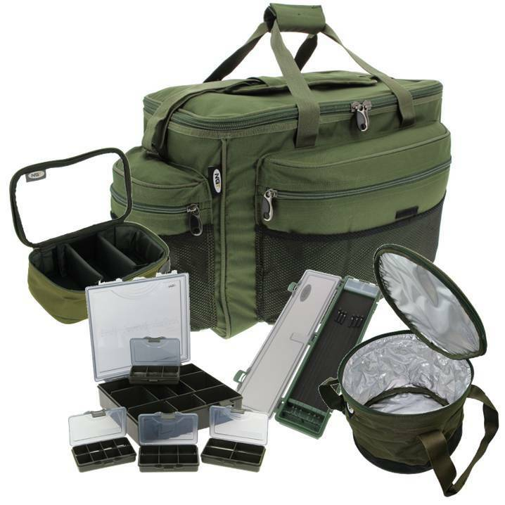 Carp fishing luggage set large carryall rig wallet lead for Large tackle boxes for fishing
