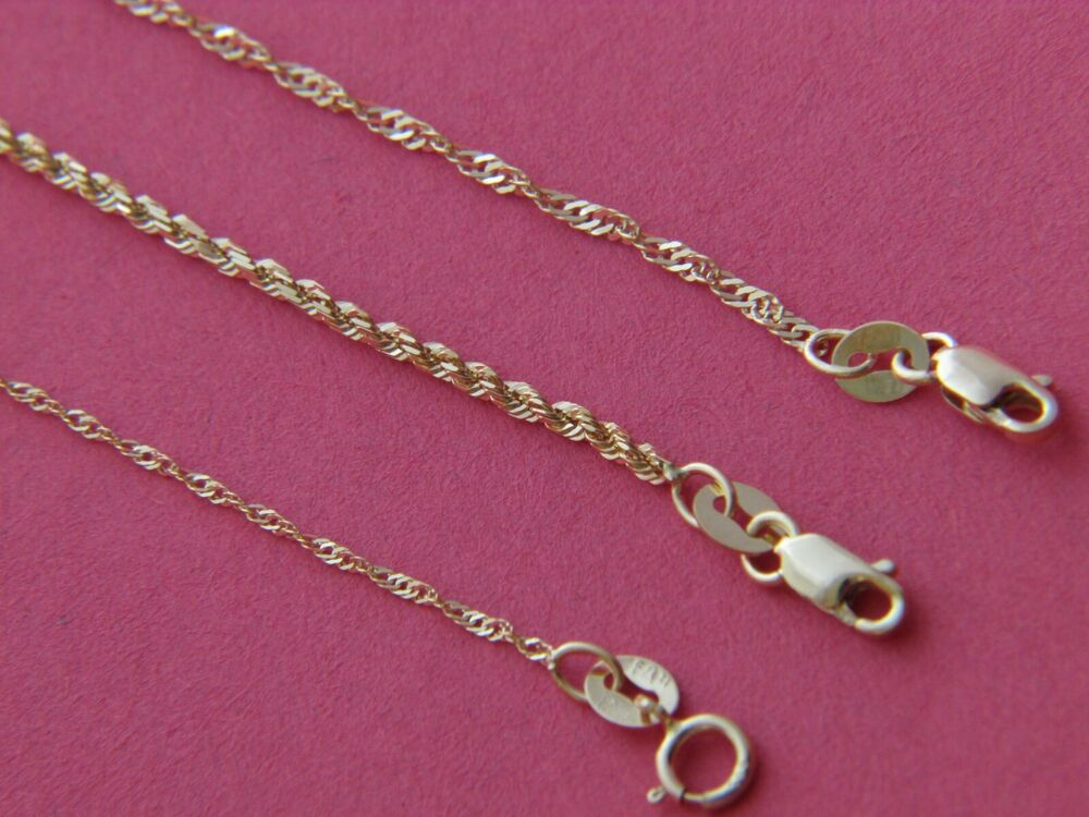 Real 14kt Yellow Gold 2mm 1mm Solid Italian Rope Chain
