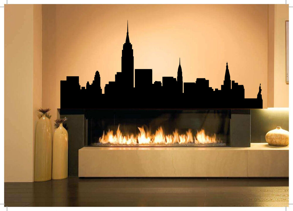 Wall Room Decor Art Vinyl Sticker Mural Decal New York City Skyline Apple As1890 Ebay