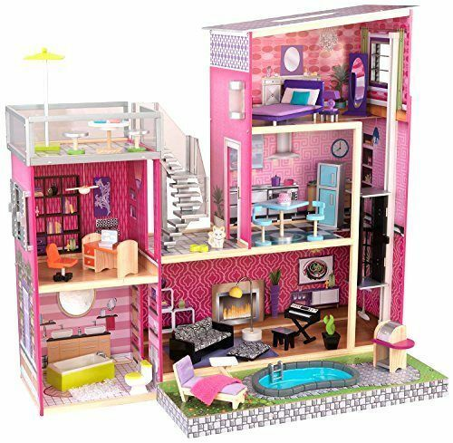 Dollhouse Barbie Size W Furniture Wooden Girls Girl Playhouse Doll Play House N Ebay