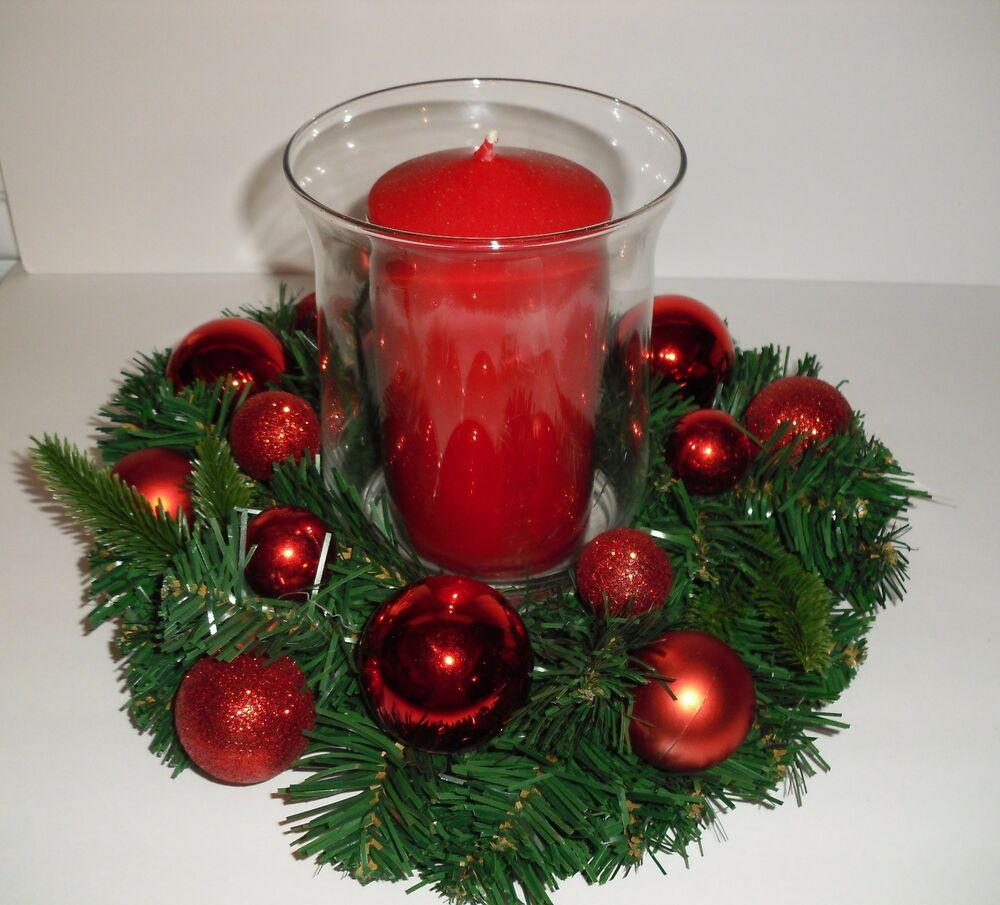 Christmas holiday centerpiece arrangement lg glass candle
