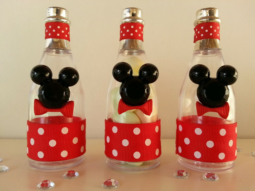 12 mickey mouse fillable champagne bottles baby shower for Baby mickey mouse decoration