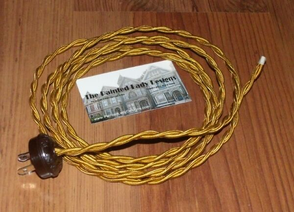 Gold 8 Vintage Lamp Cord Twisted Cloth Covered Wire W