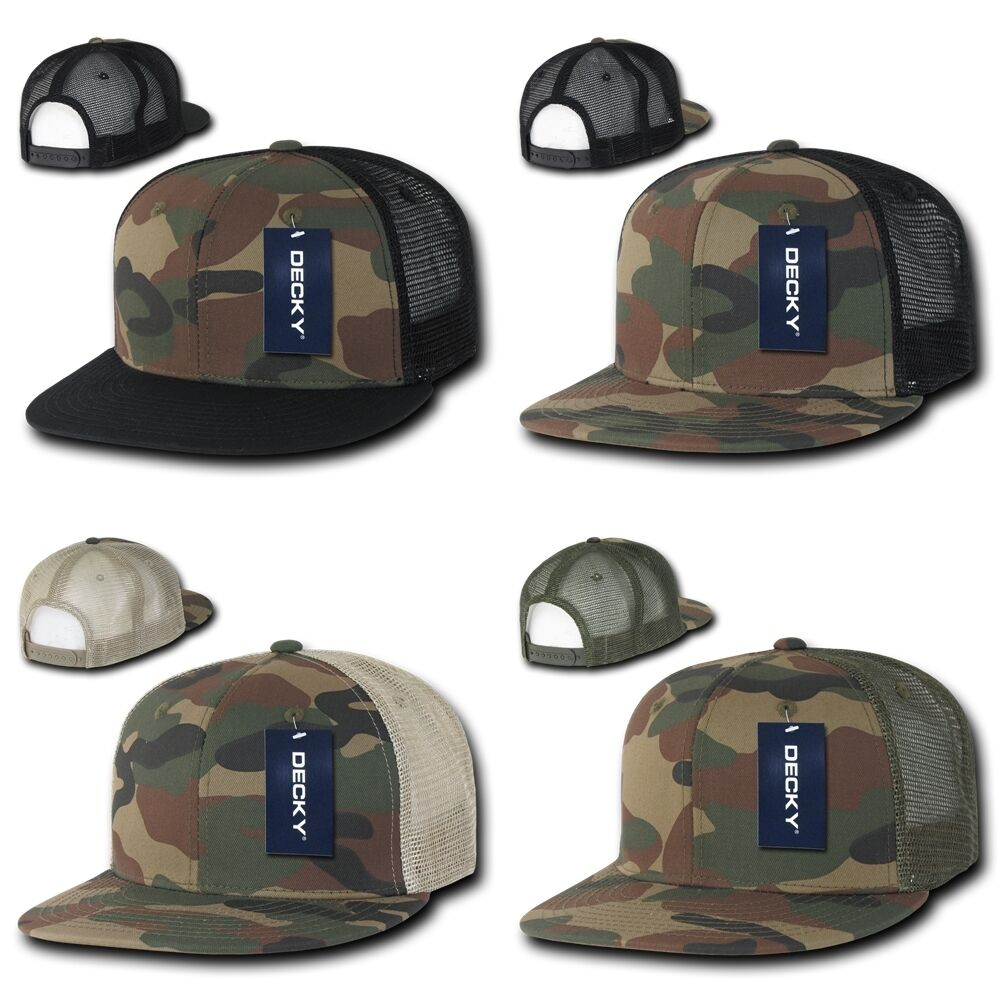 16f79794a80 Details about DECKY Plain Blank Camouflage Camo Cotton Flat Bill Snapback  Trucker Cap 1055