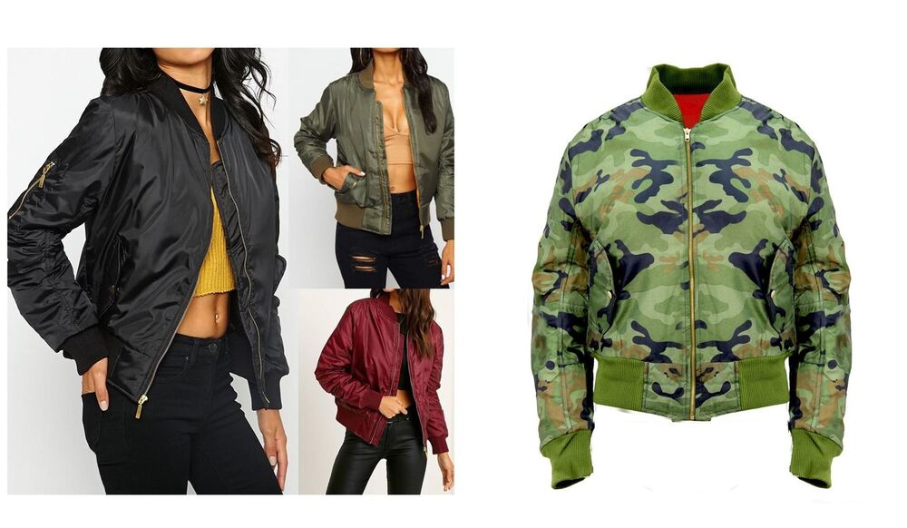 NEW LADIES WOMENS CLASSIC ZIP UP JACKET GIRLS VINTAGE BOMBER ...