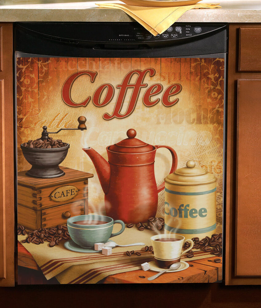 "Vintage Coffee Kitchen Magnetic Dishwasher Cover 23"" X 26"