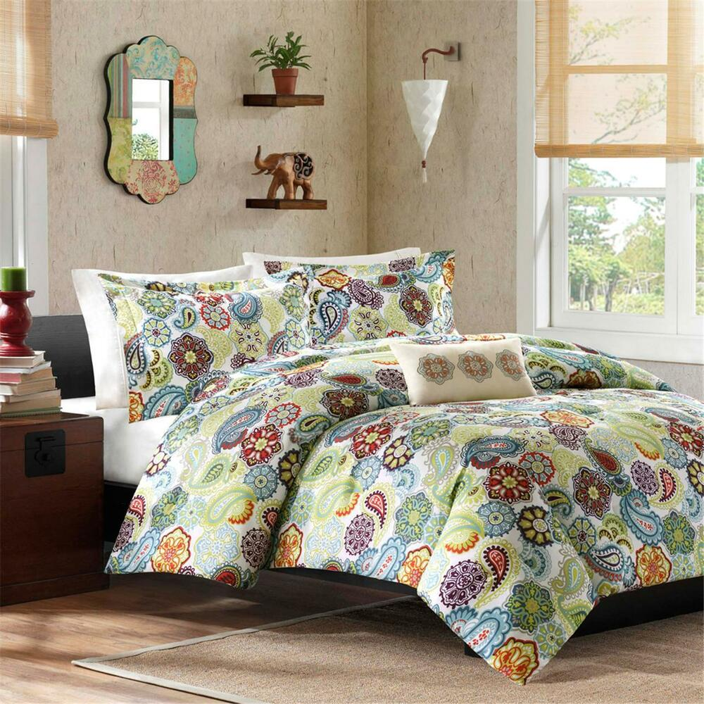 beautiful modern green aqua teal red purple orange blue medallion comforter set ebay. Black Bedroom Furniture Sets. Home Design Ideas