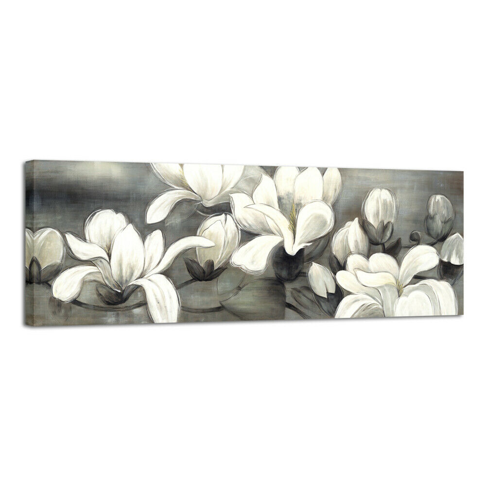 Large Modern Canvas Print Paintings Pictures Wall Art Home Decor Floral Gray Ebay